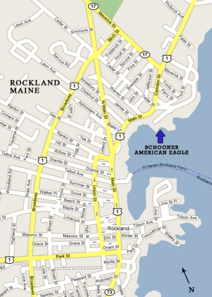 Schooner American Eagle location - Rockland, Maine