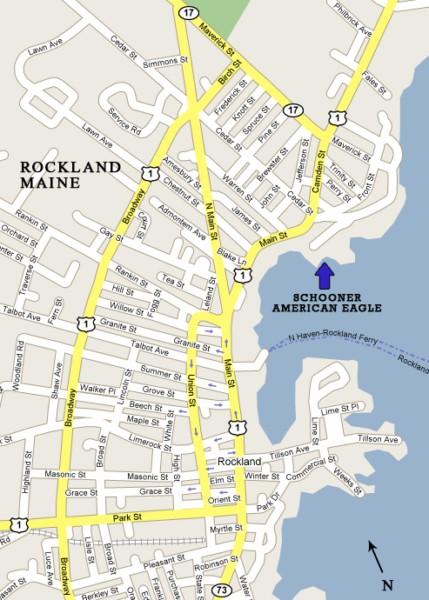 Schooner American Eagle location - Rockland, Maine