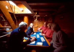 Schooner American Eagle guests play card games