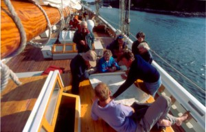 Schooner American Eagle guests on deck